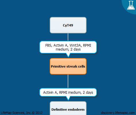 Generation of mesendoderm and definitive endoderm cells